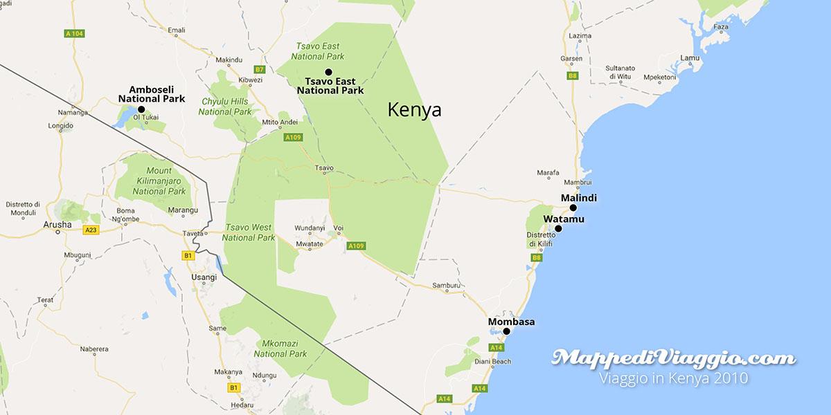 Mappa del viaggio in Kenya